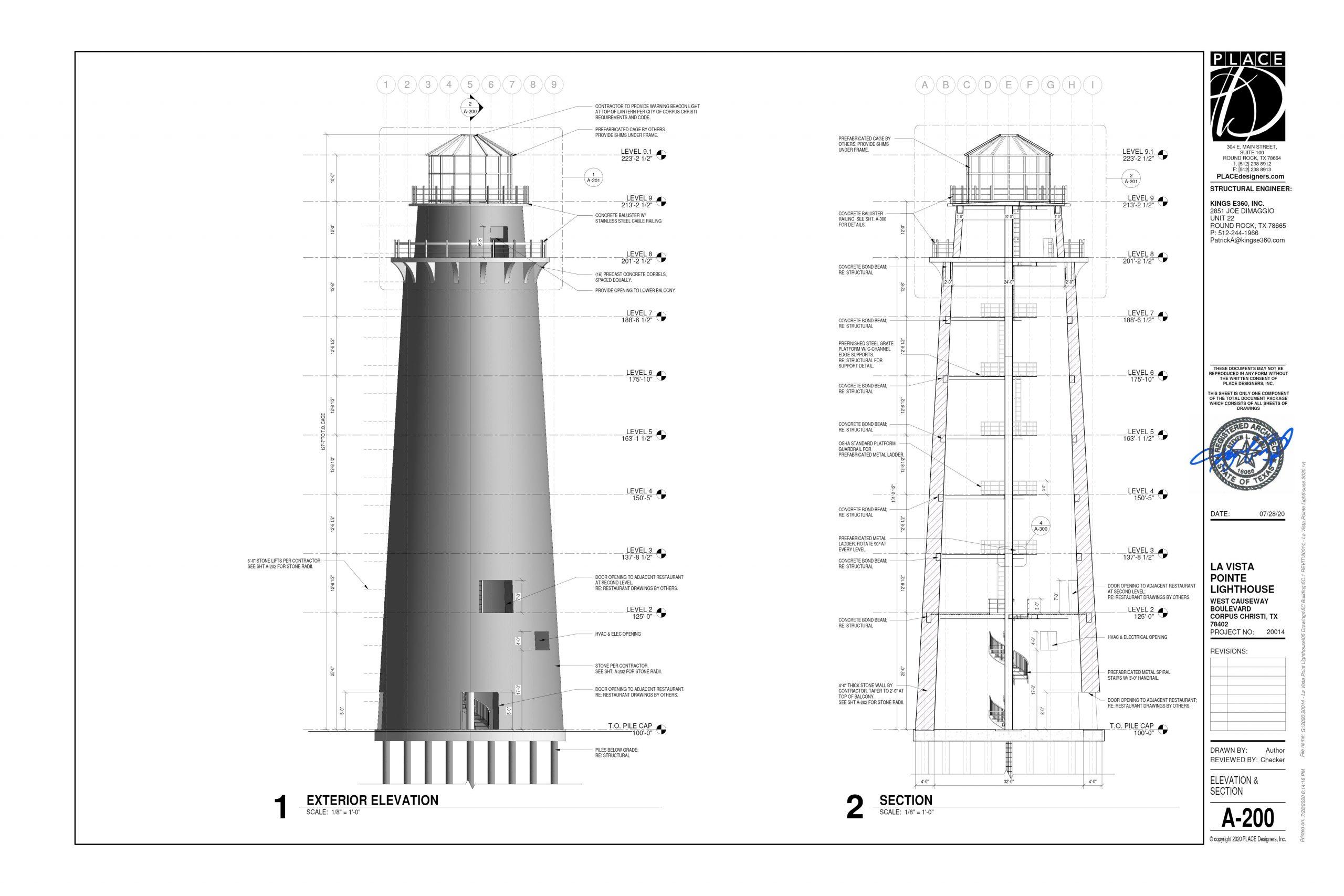 20014 - La Vista Pointe Lighthouse - Elevation & Section-1